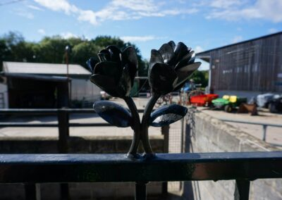 Floral design welded into our new metal railings